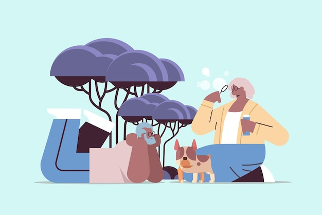 Senior african american couple blowing bubbles and spending time with little dog relaxation retirement concept full length horizontal vector illustration