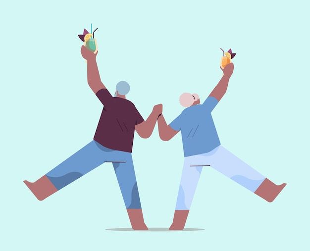 Senior african american couple dancing old man and woman having fun active old age concept