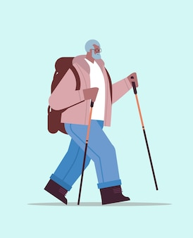 Senior african american man hiker traveling with backpack and sticks for walk nordic walking active old age concept full length vector illustration