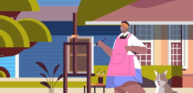 Senior african american woman artist with dog painting picture on backyard lawn creative hobby concept portrait horizontal vector illustration