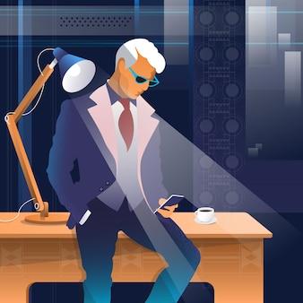 現代的な明るいオフィスインテリアで携帯電話でシニアビジネスマンの話