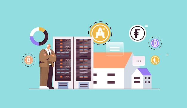 Senior businessman buying or selling bitcoins online money transfer internet payment cryptocurrency blockchain concept horizontal full length vector illustration