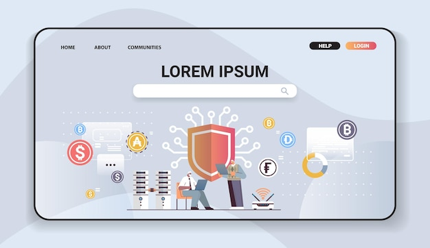Senior businessmen buying or selling bitcoins online money transfer internet payment cryptocurrency blockchain protection concept horizontal full length vector illustration