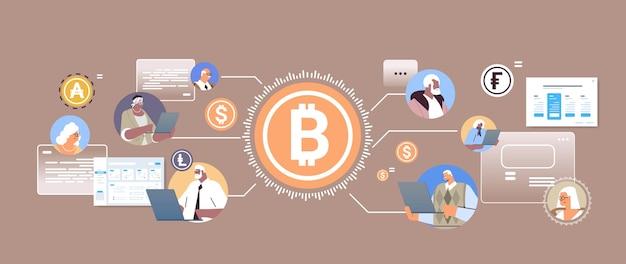 Bitcoin 온라인 송금 인터넷 지불 암호 화폐 블록 체인 개념 가로 세로 벡터 일러스트 레이 션을 구매하거나 판매하는 수석 기업인