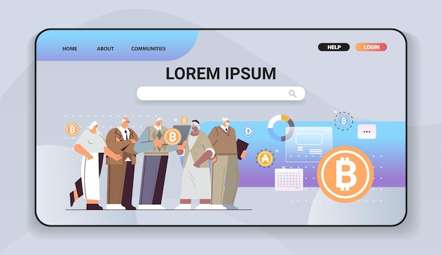 Senior businesspeople buying or selling bitcoins online money transfer internet payment cryptocurrency blockchain concept horizontal full length vector illustration