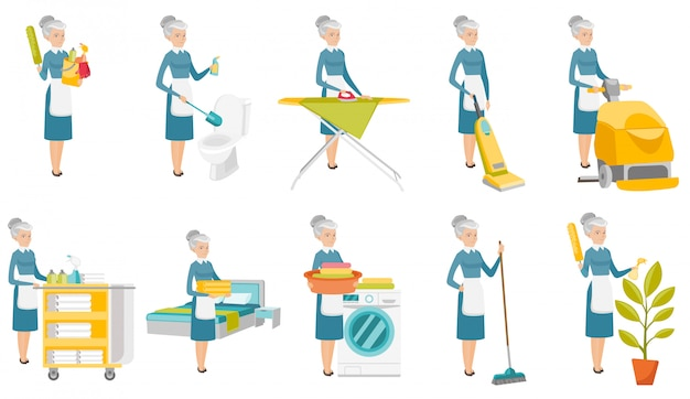 Senior caucasian cleaner set.