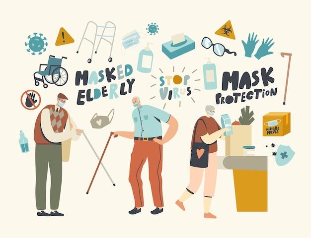 Старшие персонажи в масках приветствуют друг друга тростью. альтернативное бесконтактное приветствие пожилых друзей во время эпидемии коронавируса: посетите продуктовый магазин. линейные люди векторные иллюстрации