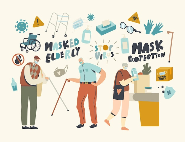 Senior characters wearing masks and greeting each other with walking canes. aged friends alternative non-contact greet during coronavirus epidemic, visit grocery. linear people vector illustration