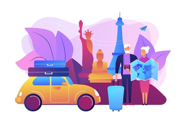 シニアカップル海外ロードトリップ。世界各地の観光ツアーに参加しているお年寄り。退職旅行、年金旅行、スロートラベル方式のコンセプト。