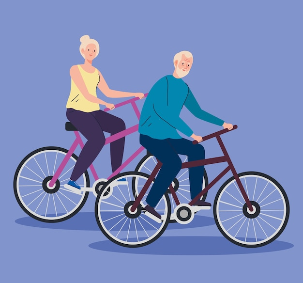 Senior couple in bicycle, leisure recreation concept illustration