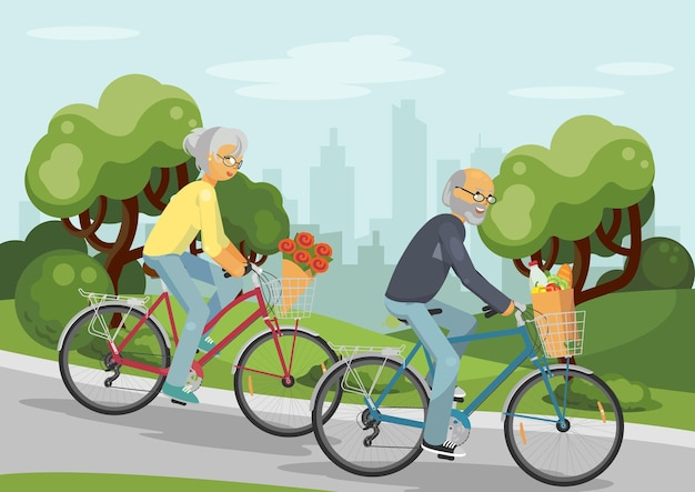 Senior couple on bikes elderly woman and man over 50s cycling together outoors in the city park