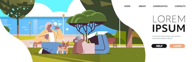 Senior couple blowing bubbles and spending time with dog in urban park relaxation retirement concept copy space full length horizontal vector illustration