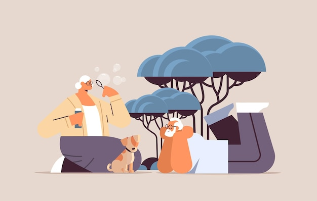 Senior couple blowing bubbles and spending time with little dog relaxation retirement concept full length horizontal vector illustration