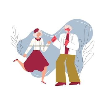 Senior couple characters dancing or dating sketch vector illustration isolated