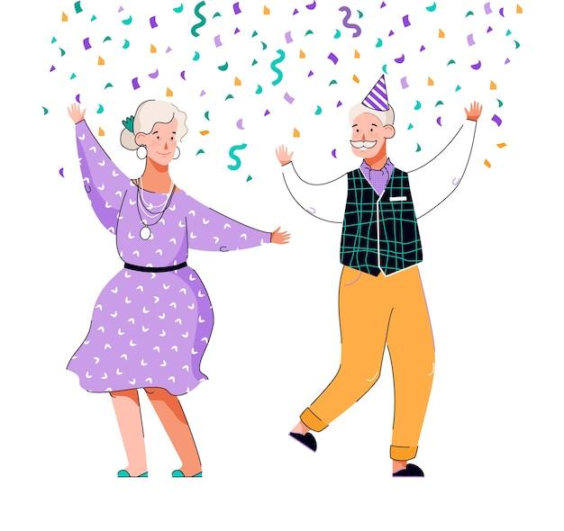 Senior couple dancing hand drawn