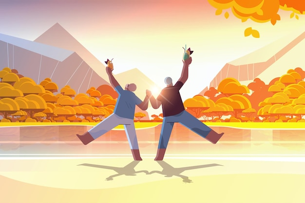 Senior couple dancing at lake beach old african american man and woman having fun active old age concept sunset landscape background full length horizontal vector illustration