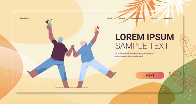 Senior couple dancing old african american man and woman having fun active old age concept full length copy space vector illustration