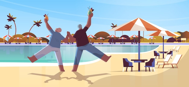 Senior couple dancing old african american man and woman having fun active old age concept landscape background full length horizontal vector illustration