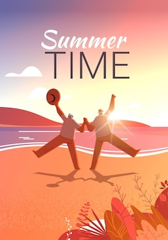 老人と女性を楽しんで踊る年配のカップルアクティブな老後の概念海景夕日の背景垂直全長ベクトルイラスト