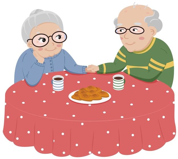 수석 커플 데이트. 커피나 차를 함께 즐기는 쾌활한 노부부의 벡터 삽화.