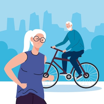 Senior couple doing different activities and hobbies illustration