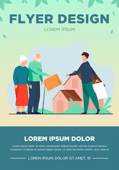 Senior couple exchanging packages with young man. house, grandfather, grandmother flat vector illustration. communication and retirement concept