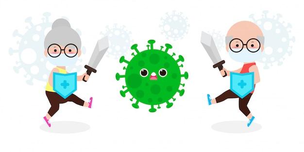 シニアカップルがコロナウイルス(2019-ncov)と戦う、漫画のキャラクターの老人と女性がcovid-19、高齢者とウイルスと細菌に対する保護、白い背景の健康的なライフスタイルのコンセプトを攻撃します。