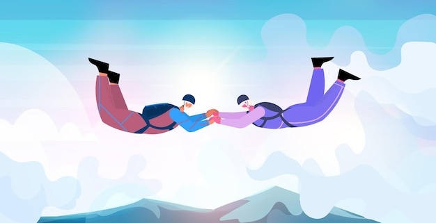 Senior couple flying down during skydiving jump aged skydivers floating in air with parachute freefall active old age concept horizontal full length vector illustration