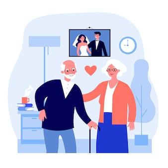 은퇴에서 함께 행복 한 노인 부부