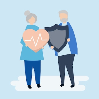 Senior couple holding health insurance icons