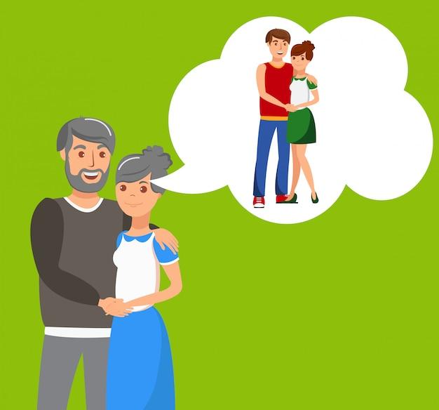 イラストを抱き締める年配のカップル