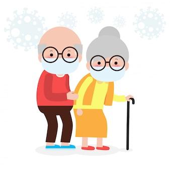 医療用マスクで年配のカップル。コロナウイルスに対する高齢者。祖母と祖父が白い背景イラストを分離したウイルスや大気汚染の漫画から保護