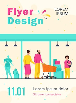 Senior couple and kid shopping in mall flyer template