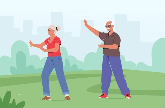 시립 공원에서 운동하는 수석 커플 남성 여성 캐릭터. 노인을 위한 야외 태극권 수업. 건강한 라이프 스타일, 신체 유연성 훈련. 연금수급자 운동. 만화 벡터 일러스트 레이 션