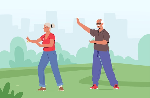 Senior couple male female characters exercising at city park. outdoor tai chi classes for elderly people. healthy lifestyle, body flexibility training. pensioners workout. cartoon vector illustration