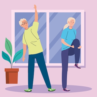 Senior couple practicing exercise in the house.