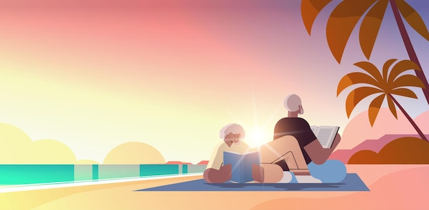 Senior couple reading books at beach old man and woman family spending time together relaxation retirement