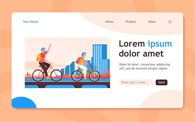 自転車に乗る年配のカップル。街のフラットなランディングページでサイクリングする老人と女性。アクティブなライフスタイル、レジャー、バナー、ウェブサイトのデザインまたはランディングウェブページのアクティビティの概念