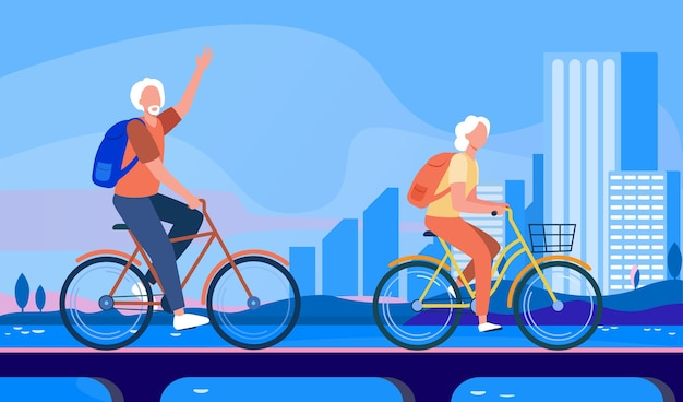 自転車に乗る年配のカップル。老人と女性が街のフラットベクトルイラストでサイクリング。アクティブなライフスタイル、レジャー、活動の概念