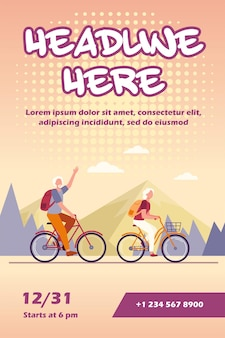 Senior couple riding bikes outdoors flyer template