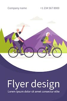屋外で自転車に乗る年配のカップル