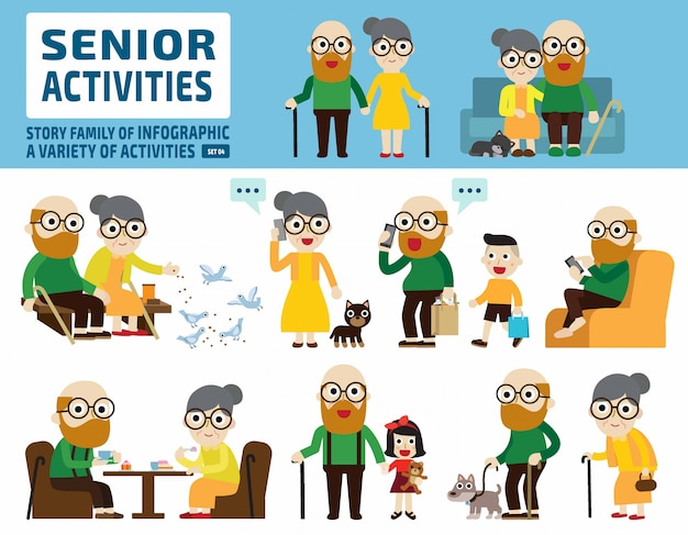 Senior couple set. infographic elements.