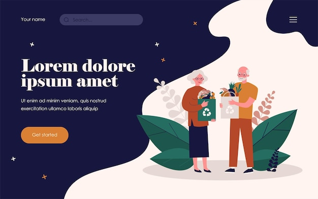 再利用可能なバッグで買い物をする年配のカップル。有機食品フラットベクトルイラストと紙袋を持つ高齢者。健康的な食事、バナー、ウェブサイトのデザインまたはランディングウェブページの廃棄物リサイクルの概念