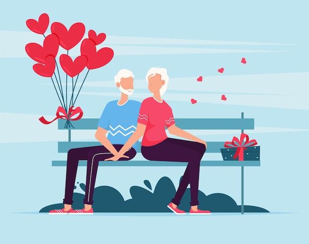 Старшие пары, сидя на скамейке. влюбленная пара на скамейке. веселая молодая пара сидит рядом друг с другом и улыбается. подарочная карта романтических свиданий дня святого валентина. влюбленные отношения двух человек.