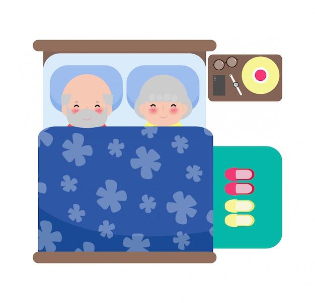 ベッドで寝ている年配のカップル、大人の老人と老婆がベッドで寝る、フラットスタイルの白い背景イラストを分離した寝室で老人の健康な夢の睡眠