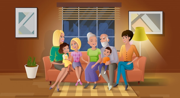 Senior couple spending time with children vector