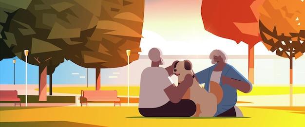 도시 공원 휴식 은퇴 개념 전체 길이 수평 벡터 일러스트 레이 션에서 강아지와 함께 시간을 보내는 수석 부부
