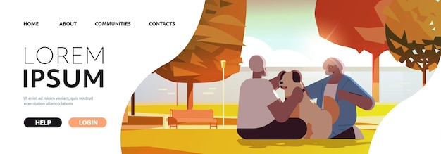 Senior couple spending time with dog in urban park relaxation retirement concept full length horizontal copy space vector illustration