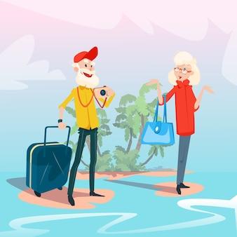Старшие пары летнего тропического острова приморские каникулы