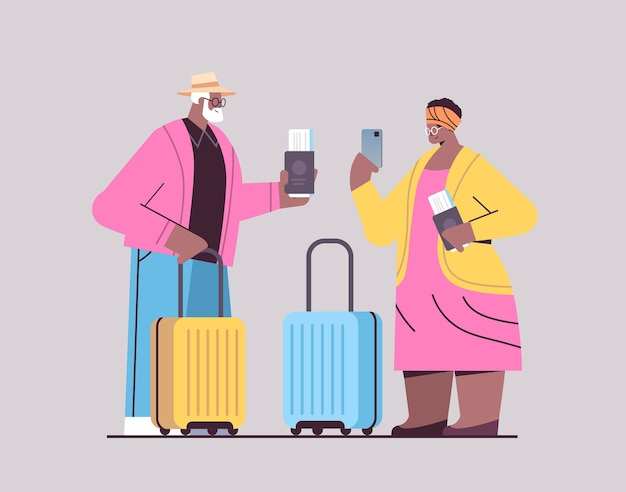 Senior couple of tourists using smartphones grandparents with luggage passports and tickets ready to boarding at airport